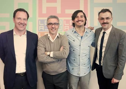 João Alvim, Miguel Simões, Chacho Puebla e Jeremy Hine, aquando da abertura da agência em Lisboa