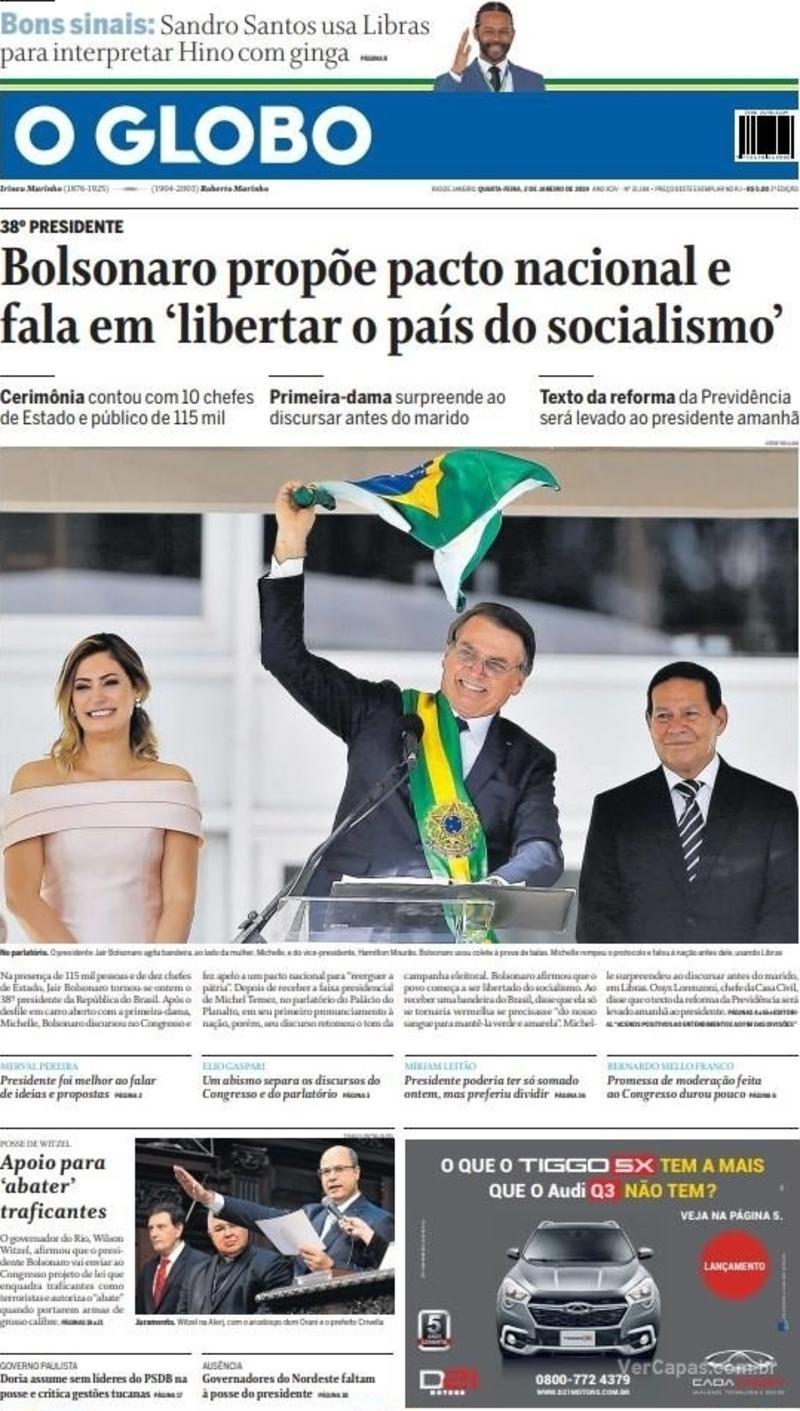 127854f93c ... do discurso de tomada de posse que estão em destaque nas primeiras  páginas dos jornais daquele país. Confira as capas da imprensa brasileira  na galeria.