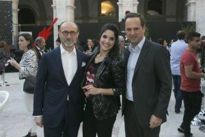Carlos Gomes da Silva (CEO da Galp Energia), Roberta Medina (vice-presidente executiva do Rock in Rio) e Fernando Medina (presidente da CML)