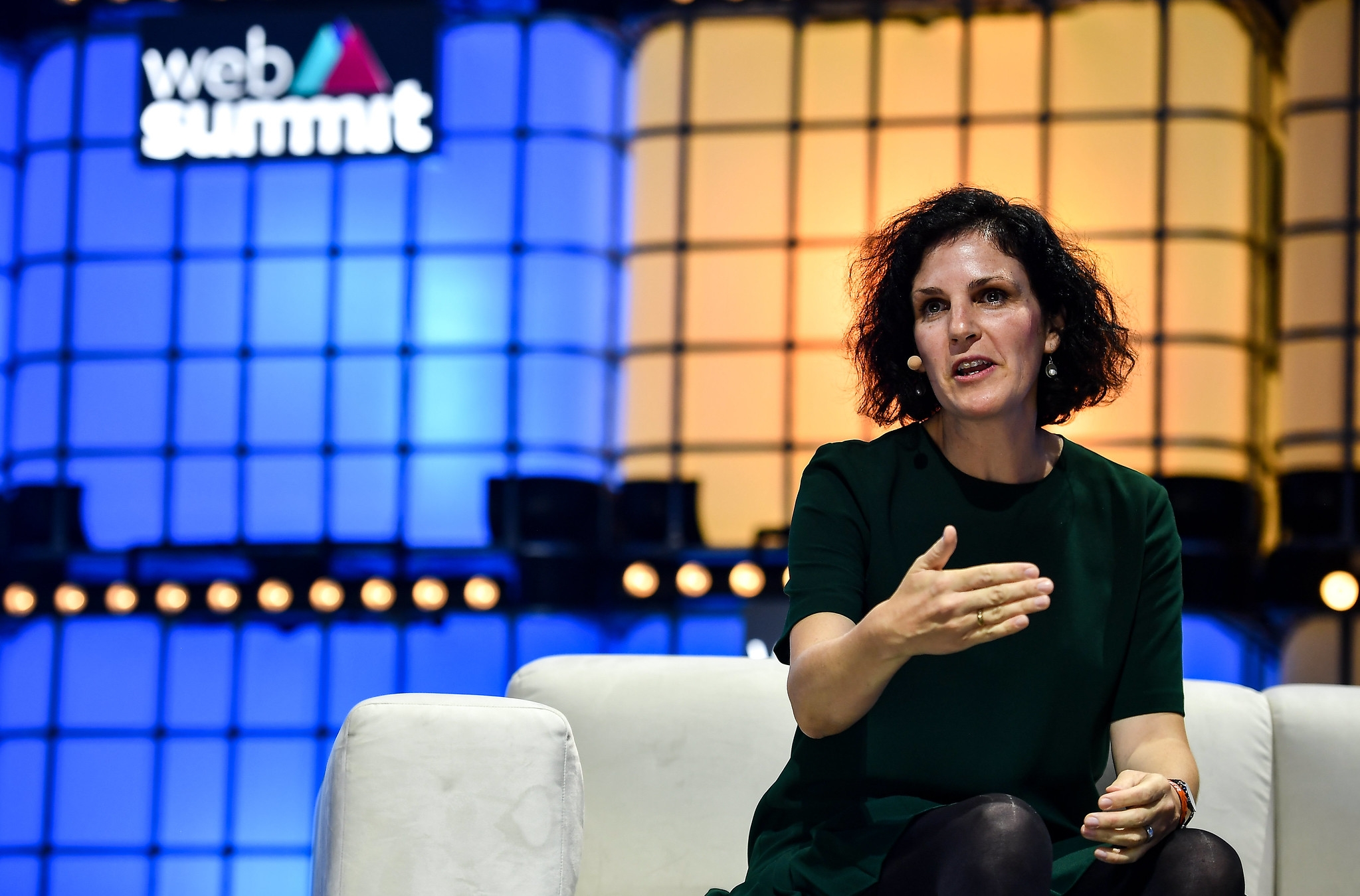 5 November 2019; Barbara Martin Coppola, Chief Digital Officer, IKEA, on Centre Stage during the opening day of Web Summit 2019 at the Altice Arena in Lisbon, Portugal. Photo by David Fitzgerald/Web Summit via Sportsfile